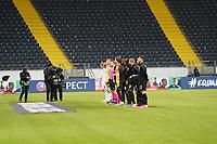 Mannschaften stellen sich auf - 12.03.2020: Eintracht Frankfurt vs. FC Basel, UEFA Europa League, Achtelfinale, Commerzbank Arena<br /> DISCLAIMER: DFL regulations prohibit any use of photographs as image sequences and/or quasi-video.