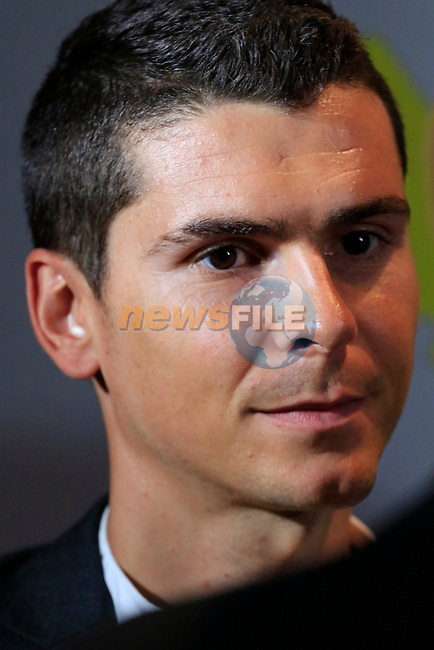 Warren Barguil (FRA) speaks to the media at the Tour de France 2020 route presentation held in the Palais des Congrès de Paris (Porte Maillot), Paris, France. 15th October 2019.<br /> Picture: Eoin Clarke | Cyclefile<br /> <br /> All photos usage must carry mandatory copyright credit (© Cyclefile | Eoin Clarke)