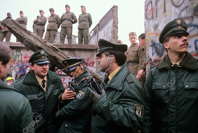 Opening of the Berlin Wall, West Berlin, Germany, November 1989.