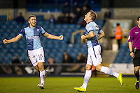 Garry Thompson of Wycombe Wanderers celebrates his goal with Dan Rowe of Wycombe Wanderers during the Checkatrade Trophy round two Southern Section match between Millwall and Wycombe Wanderers at The Den, London, England on the 7th December 2016. Photo by Liam McAvoy.
