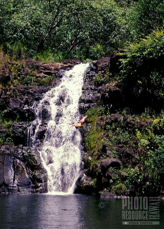 Cliff diving in Waimea Falls Park / Waimea Valley
