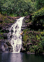 Cliff diving in Waimea Falls Park / Waimea Valley