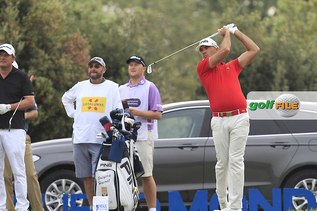 Gregory Havret (FRA) on the 13th tee during Round 1 of the Open de Espana  in Club de Golf el Prat, Barcelona on Thursday 14th May 2015.<br /> Picture:  Thos Caffrey / www.golffile.ie