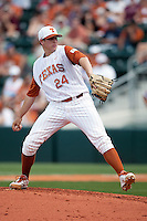 Texas Longhorns pitcher Parker French #24 winds up during the NCAA baseball game against the Texas A&M Aggies on April 28, 2012 at UFCU Disch-Falk Field in Austin, Texas. The Aggies beat the Longhorns 12-4. (Andrew Woolley / Four Seam Images)...
