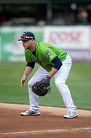 Kane County Cougars first baseman Zack Shannon (18) during a Midwest League game against the Cedar Rapids Kernels at Northwestern Medicine Field on April 28, 2019 in Geneva, Illinois. Cedar Rapids defeated Kane County 3-2 in game two of a doubleheader. (Zachary Lucy/Four Seam Images)