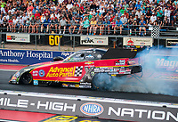 Jul 20, 2018; Morrison, CO, USA; NHRA funny car driver Courtney Force during qualifying for the Mile High Nationals at Bandimere Speedway. Mandatory Credit: Mark J. Rebilas-USA TODAY Sports