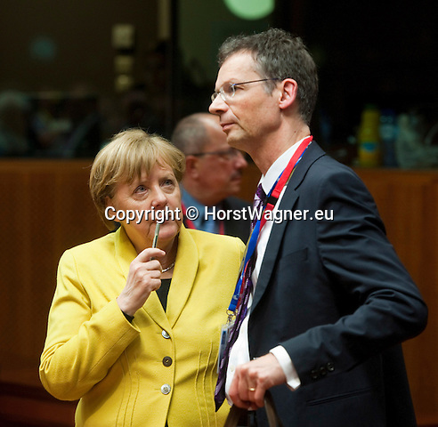 Belgium, Brussels - March 18, 2016 -- Second day of the European Council, EU-Summit with Heads of State or Government: here, Angela MERKEL (le), German Federal Chancellor, with Uwe CORSEPIUS (ri), former  Secretary-General of the Council of the European Union and now chief advisor on European affairs to Chancellor Merkel -- Photo © HorstWagner.eu