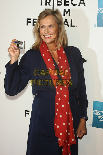 "LAUREN HUTTON .attends the 10th Anniversary Edition of the Tribeca Film Festival - Opening Night Gala Premiere of ""The Union"" at the Winter Garden of the World Financial Center, New York, NY, USA, .20th April 2011..half length red polka dot white scarf blue jacket coat holding camera smiling .CAP/LNC/TOM.©LNC/Capital Pictures."