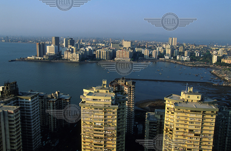 View over the city's high rise luxury apartments in front of Back Bay.  Nariman Point, extending into the bay, is the main business district.
