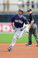 Boston Red Sox second baseman Dustin Pedroia #15 runs the bases after hitting a home run during a Grapefruit League Spring Training game against the Tampa Bay Rays at Charlotte County Sports Park on February 25, 2013 in Port Charlotte, Florida.  Tampa Bay defeated Boston 6-3.  (Mike Janes/Four Seam Images)