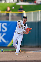 Salt Lake Bees starting pitcher Tim Lincecum (27) warms up in the bullpen before the game against the Round Rock Express in Pacific Coast League action at Smith's Ballpark on August 15, 2016 in Salt Lake City, Utah. Round Rock defeated Salt Lake 5-4.  (Stephen Smith/Four Seam Images)