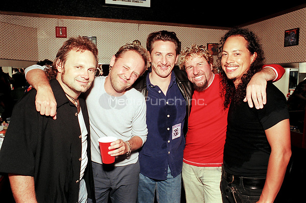 Sammy Hagar with Lars Ulrich, Kirk Hammet, Sean Penn and Michael Anthony <br /> May 7, 2002<br /> **NO GERMANY**<br /> &copy; Jay Blakesberg / MediaPunch