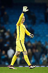 Joe Hart of Manchester City waves to fans during the UEFA Champions League match at the Etihad Stadium. Photo credit should read: Philip Oldham/Sportimage