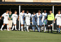 Players of the University of Notre Dame enter the field to play against the University of Michigan during a men's NCAA match at the new Alumni Stadium on September 1 2009 in South Bend, Indiana. Notre Dame won 5-0.