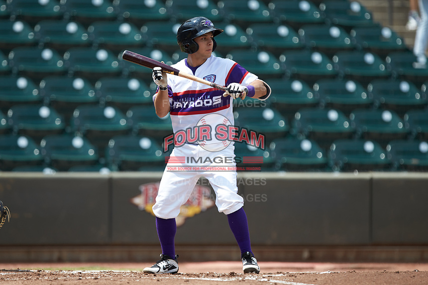 Nick Madrigal (4) of the Winston-Salem Rayados shows bunt during the game against the Potomac Nationals at BB&T Ballpark on August 12, 2018 in Winston-Salem, North Carolina. The Rayados defeated the Nationals 6-3. (Brian Westerholt/Four Seam Images)