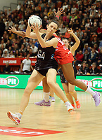 10.09.2017 Silver Ferns Bailey Mes in action during the Taini Jamison Trophy match between the Silver Ferns and England at Pettigrew Green Arena in Napier. Mandatory Photo Credit ©Michael Bradley.