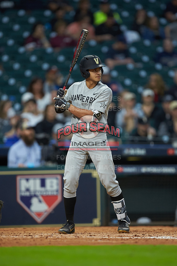 Austin Martin (16) of the Vanderbilt Commodores at bat against the Louisiana Ragin' Cajuns in game five of the 2018 Shriners Hospitals for Children College Classic at Minute Maid Park on March 3, 2018 in Houston, Texas.  The Ragin' Cajuns defeated the Commodores 3-0.  (Brian Westerholt/Four Seam Images)
