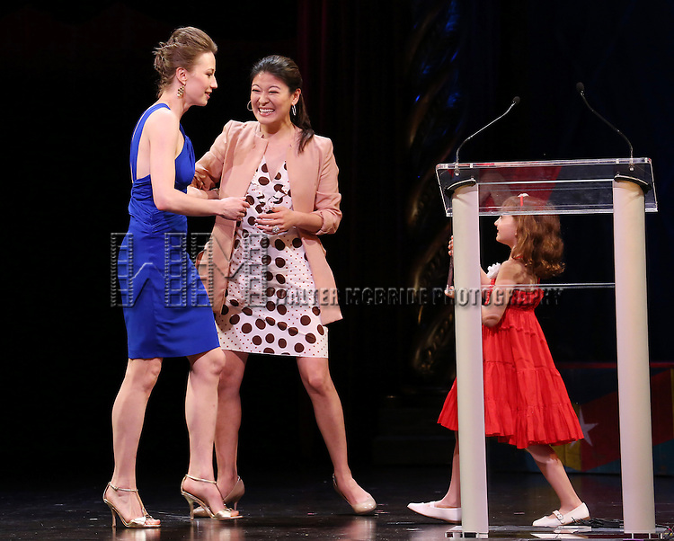 Jennifer Lim, Carrie Coon, Eliza Holland Madore during the 69th Annual Theatre World Awards Presentation at the Music Box Theatre in New York City on June 03, 2013.
