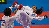 Ana Escandon de Colombia, der, lanza una patada a Kayo Someya de Japon en un combate de karate -68kg durante los Juegos Mundiales 2013 en el Coliseo Evangelista Mora en Cali, Colombia, sabado 27 de julio 2013.<br /> Foto: Coldeportes/Archivolatino<br /> <br /> COPYRIGHT: Coldeportes. Imagen distribuida para difusi&radic;?n de los Juegos Mundiales 2013. Prohibida su venta y uso comercial.