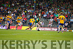 Brian Friel Kerry in action against Sean Rouine Clare in the Munster Minor Football Final at Fitzgerald Stadium on Sunday.