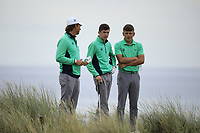 Tom McKibbin of Ireland with Neil Manchip and John Brady during Day 2 / Foursomes of the Boys' Home Internationals played at Royal Dornoch Golf Club, Dornoch, Sutherland, Scotland. 08/08/2018<br />