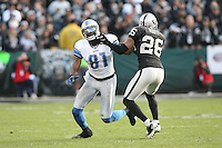 December 18, 2011 Oakland, CA: Detroit Lions wide receiver Calvin Johnson #81 during an NFL game played between the Oakland Raiders and the Detroit Lions at O.co Coliseum. The Lions defeated the Raiders 28-27.