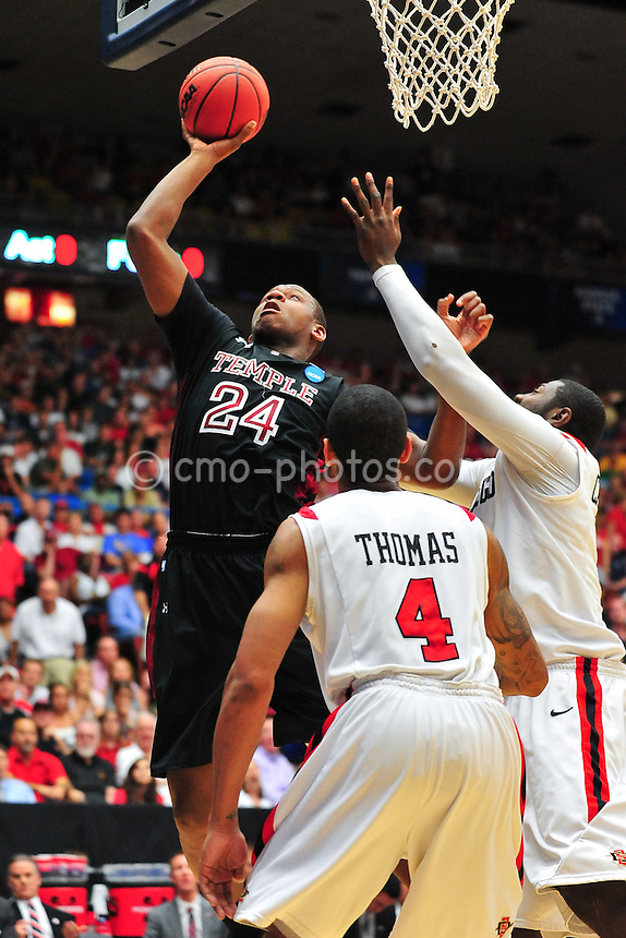 Mar 19, 2011; Tucson, AZ, USA; Temple Owls forward Lavoy Allen (24) shot the ball in the first half of a game against the San Diego State Aztecs in the third round of the 2011 NCAA men's basketball tournament at the McKale Center.