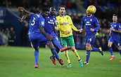 1st December 2017, Cardiff City Stadium, Cardiff, Wales; EFL Championship Football, Cardiff City versus Norwich City; Mario Vrancic of Norwich City and Sol Bamba of Cardiff City watch on as the loose ball goes past