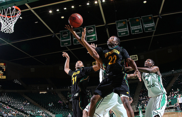 DENTON, TX - DECEMBER 16: Jeremy Campbell #22 of the Southeastern Louisiana Lions rebounds the ball against the North Texas Mean Green at the UNT Coliseum on December 16, 2012 in Denton, Texas. (Photo by Rick Yeatts/Getty Images)