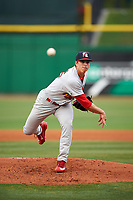 Palm Beach Cardinals starting pitcher Ryan Helsley (26) delivers a pitch during a game against the Clearwater Threshers on April 15, 2017 at Spectrum Field in Clearwater, Florida.  Clearwater defeated Palm Beach 2-1.  (Mike Janes/Four Seam Images)