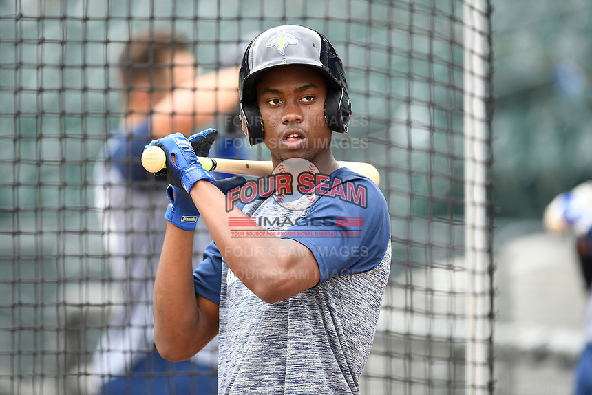 Center fielder Ranfy Adon (3) of the Columbia Fireflies works a bunting drill before a game against the Charleston RiverDogs on Friday, April 5, 2019, at Segra Park in Columbia, South Carolina. Charleston won, 6-1. (Tom Priddy/Four Seam Images)
