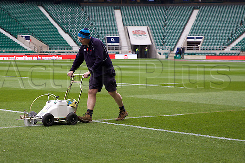 27.02.2016. Twickenham, London, England. RBS Six Nations Championships. England versus Ireland. Last minute preparations by groundskeeper