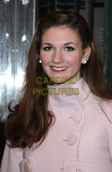 SUMMER STRALLEN.Gala Performance of 'Legally Blonde' at the Savoy Theatre, The Strand, London, England..January 13th, 2010.headshot portrait buttons pink coat jacket diamond earrings studs .CAP/ROS.©Steve Ross/Capital Pictures.