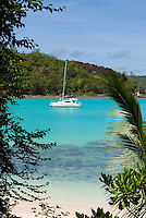 Seychelles, Island Mahe, Port Launay, Anse Souillac: sailing boat at Port Launay Marine National Park