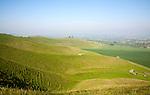 Summer view arable fields chalk landscape from Cherhill Down escarpment, Wiltshire, England, UK