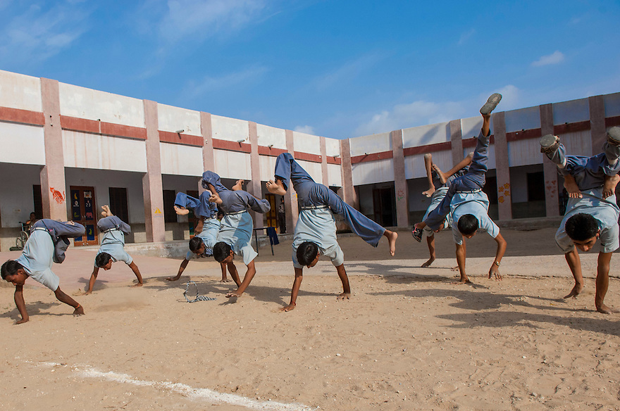 Students participate in sport activities at the Sucheta Kriplani Shiksha Niketan school for disabled children on the outskirts of Jodhpur in the northen Indian state of Rajasthan.