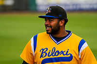 Biloxi Shuckers first baseman Art Charles (47) during a Southern League game against the Tennessee Smokies on May 25, 2017 at Smokies Stadium in Kodak, Tennessee.  Tennessee defeated Biloxi 10-4. (Brad Krause/Krause Sports Photography)