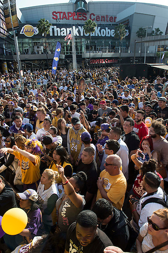 13.04.2016. Los Angeles, California, USA. Kobe fans dances in the streets during Fanfest outside Staples Center on Wednesday in Los Angeles. This was Kobe Bryant's final home game