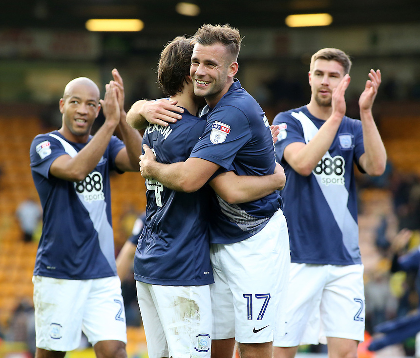 Preston North End's Tommy Spurr (right) embraces Ben Pearson at the final whistle<br /> <br /> Photographer David Shipman/CameraSport<br /> <br /> The EFL Sky Bet Championship - Norwich City v Preston North End - Saturday 22nd October 2016 - Carrow Road - Norwich<br /> <br /> World Copyright &copy; 2016 CameraSport. All rights reserved. 43 Linden Ave. Countesthorpe. Leicester. England. LE8 5PG - Tel: +44 (0) 116 277 4147 - admin@camerasport.com - www.camerasport.com