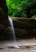 LaSalle Falls in LaSalle Canyon in Starved Rock State Park, flows in the dead of summer mostly because it is spring fed in addition to rain runoff, LaSalle County, Illinois