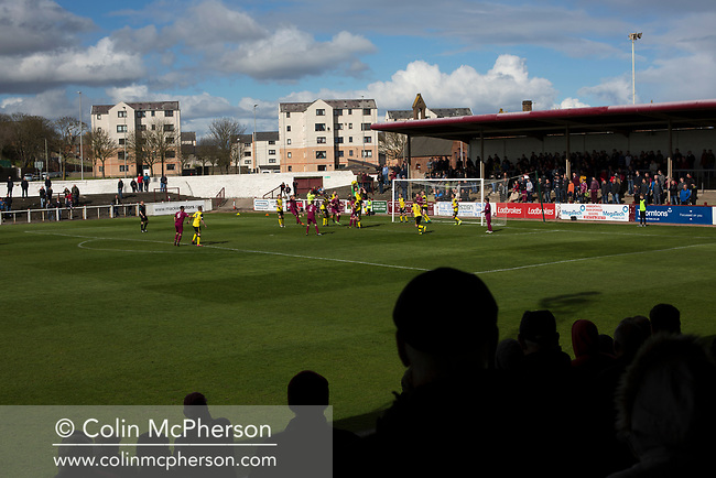 The home team press for the opening goal during the first-half at Gayfield Park as Arbroath hosted Edinburgh City (in yellow) in an SPFL League 2 fixture. The newly-promoted side from the Capital were looking to secure their place in SPFL League 2 after promotion from the Lowland League the previous season. They won the match 1-0 with an injury time goal watched by 775 spectators to keep them 4 points clear of bottom spot with three further games to play.