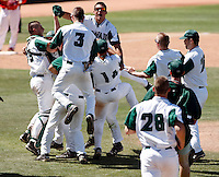 Hawaii Rainbows celebrates on the field after defeating Fresno State in the championship game of the Western Athletic Conference tournament at Hohokam Park, Mesa, AZ - 05/30/2010. Hawaii won, 9-6, to capture its first league championship in 18 years..Photo by:  Bill Mitchell/Four Seam Images.