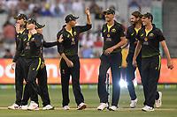 1st November 2019; Melbourne Cricket Ground, Melbourne, Victoria, Australia; International T20 Cricket, Australia versus Sri Lanka; Australian players celebrate a Kane Richardson wicket - Editorial Use