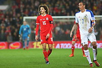 Ethan Ampadu of Wales and Blas Perez of Panama during the International Friendly match between Wales and Panama at The Cardiff City Stadium, Wales, UK. Tuesday 14 November 2017