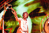 Lead Wayne Coyne trumpets at the Flaming Lips concert at the Alliant Energy Center's Willow Island Saturday night, 9/8/07