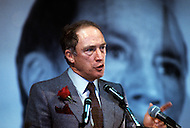 Ottawa, Canada, February 14 1980. Joseph Philippe Pierre Yves Elliott Trudeau, (October 18, 1919 - September 28, 2000), was the 15th Prime Minister of Canada from April 20, 1968 to June 4, 1979, and again from March 3, 1980 to June 30, 1984. - Press conference during his political campaign for the February 1980 elections.