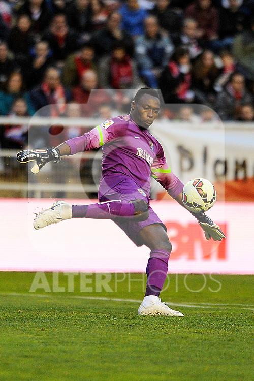 Malaga CF´s goalkeeper Idriss Carlos Kameni during 2014-15 La Liga match between Rayo Vallecano and Malaga CF at Rayo Vallecano stadium in Madrid, Spain. March 21, 2015. (ALTERPHOTOS/Luis Fernandez)