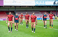 Picture by Allan McKenzie/SWpix.com - 22/04/2018 - Rugby League - Ladbrokes Challenge Cup - York City Knight v Catalans Dragons - Bootham Crescent, York, England - Catalans leave the field.