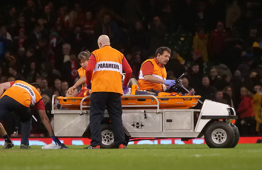 Wales' Ellis Jenkins goes off injured in the dying moments of the game<br /> <br /> Photographer Ian Cook/CameraSport<br /> <br /> Under Armour Series Autumn Internationals - Wales v South Africa - Saturday 24th November 2018 - Principality Stadium - Cardiff<br /> <br /> World Copyright © 2018 CameraSport. All rights reserved. 43 Linden Ave. Countesthorpe. Leicester. England. LE8 5PG - Tel: +44 (0) 116 277 4147 - admin@camerasport.com - www.camerasport.com