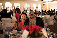 Guests seated at the VIP table pose for a photograph together at the OzFest Gala Dinner in the Jaipur City Palace, in Rajasthan, India on 10 January 2013. Photo by Suzanne Lee